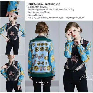 WST 26212 Black Blue Plaid Chain Shirt