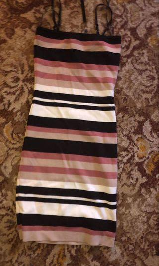 Tight thin strapped striped dress