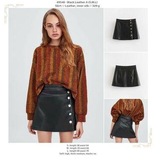 Skirt 49548 - Black Leather A