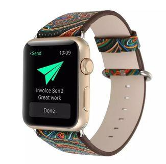 Smartwatch Leegoal Vintage Folk National Style Colorful Painting Watch Band Strap For Apple Watch Leather Bracelet With Connector  38mm