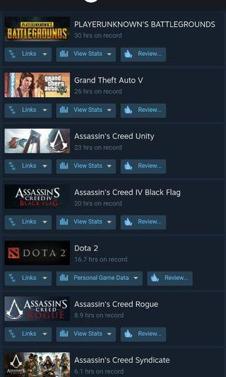 Steam Account - PUBG-Playesunknown's battle ground,Dota 2, GTA V - Grand Theft Auto 5, Assassin's Creed IV : Black Flag, Rogue, Unity, Syndicate
