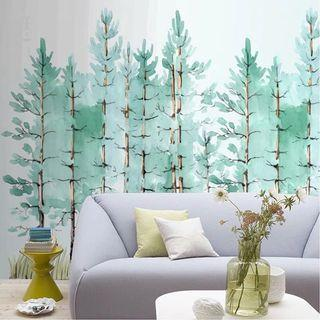 Green tree wall mural