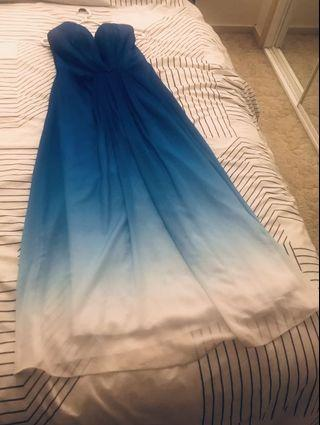 White and blue formal dress