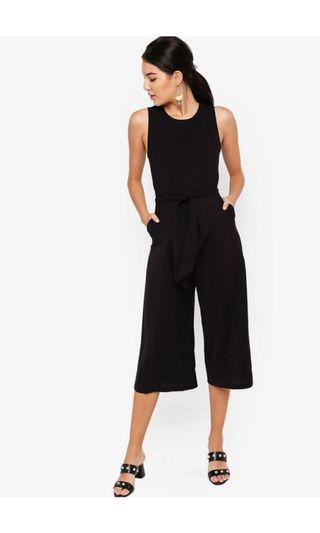 Zalora self tie black jumpsuit