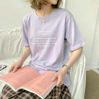紫色字母短袖上衣 字母t 英字上衣