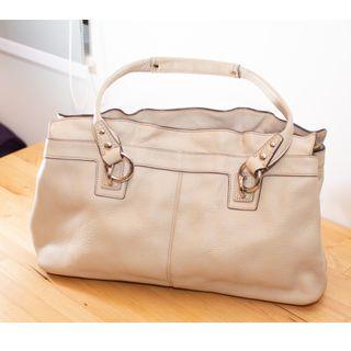 [Unused] Coach Leather Handbag (Ivory Pebbled)