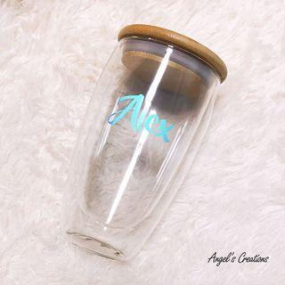 🚚 Personalized/Customized Double Wall Glass with Bamboo Lid
