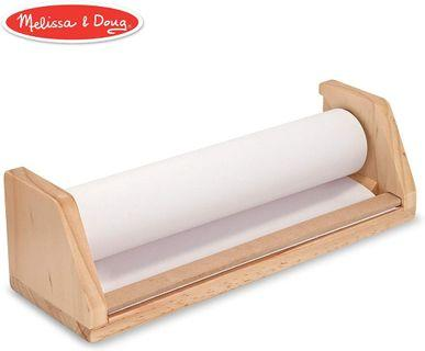 Melissa & Doug Wooden Tabletop Paper Roll Dispenser With White Bond Paper (12 inches x 75 feet)
