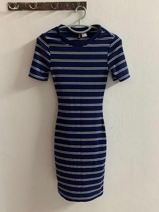🚚 Striped blue and white dress