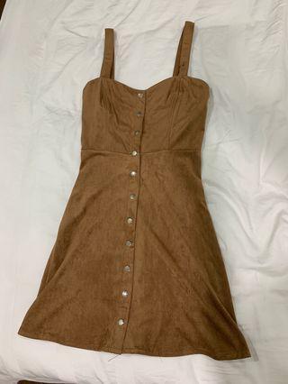 Button Down Brown Dress