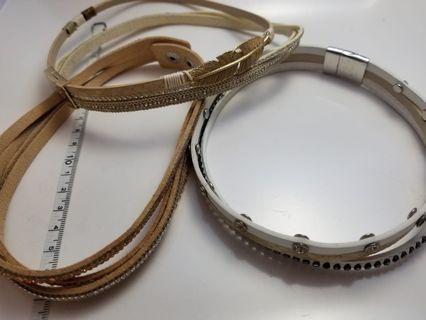 新款閃亮金葉金鑽皮繩項鍊