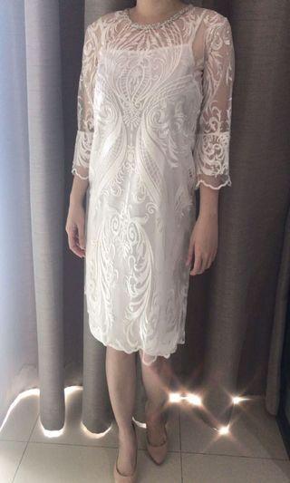 Viola White Laces Dress Tunic Kaftan