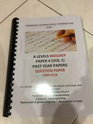 A Level Biology Paper 4 Past Year (2009-2013)