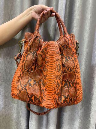 Orange Snake Skin Bag