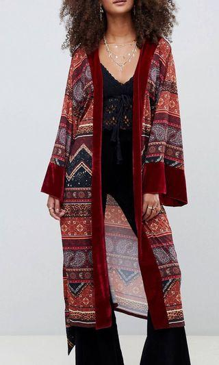 Kiss the sky Longline Kimono with Velvet Trim