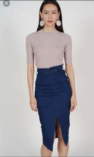 Mds Flap Over Pencil Skirt In Denim