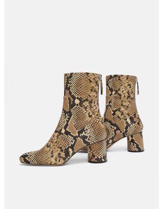 Zara Heeled Animal Print Ankle Boot