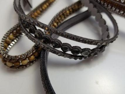 新款閃金鑽多層皮繩項鍊