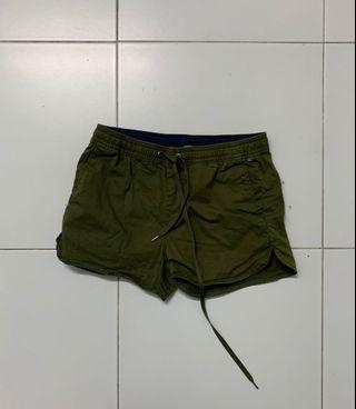 Curved Army Green Shorts