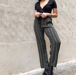 bnwt brandy melville green striped frankie pants