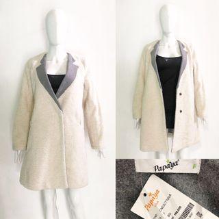 Papaya cocoon long wool coat / jacket / outer