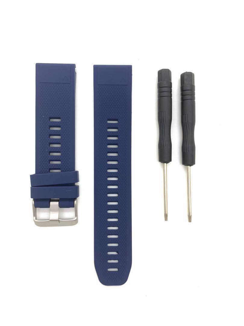 22mm Navy Blue Silicon Rubber Replacement Watchband Watch Strap with Quick Release / Fit for Garmin Fenix 5 GPS and forerunner 935 and other watches of 22mm lug width