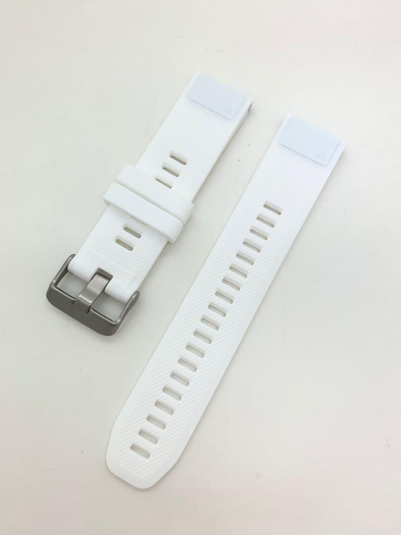 22mm White Silicon Rubber Replacement Watchband Watch Strap with Quick Release / Fit for Garmin Fenix 5 GPS and forerunner 935 and other watches of 22mm lug width.