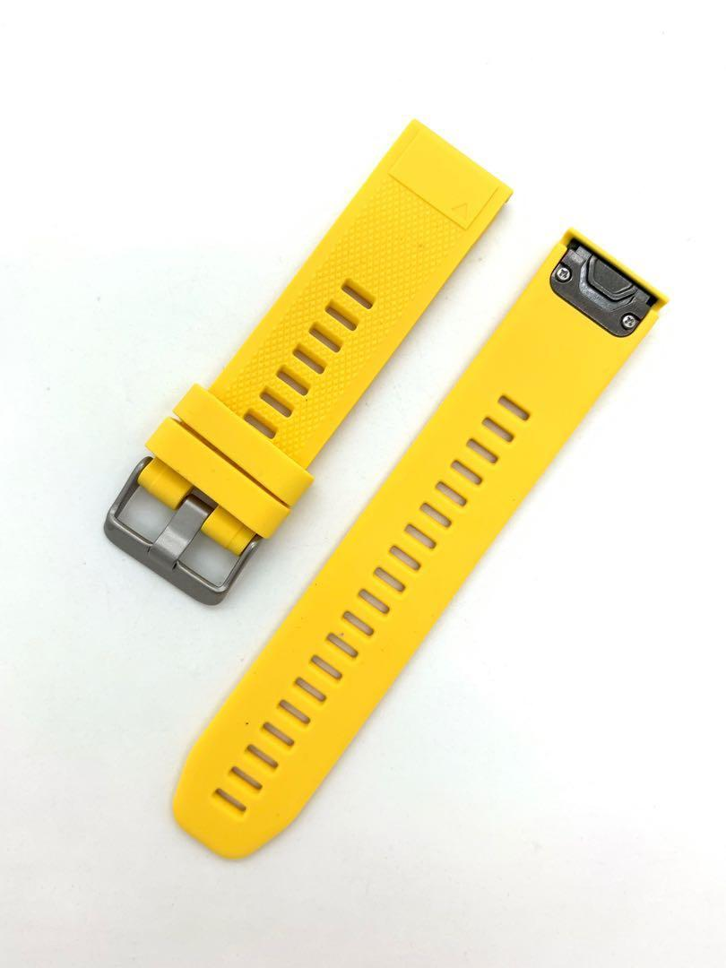 22mm Yellow Silicon Rubber Replacement Watchband Watch Strap with Quick Release for Garmin Fenix 5 / 5plus instinct GPS and forerunner 935 Approach S60 / Quatix 5, Seiko and other watches of 22mm lug width.