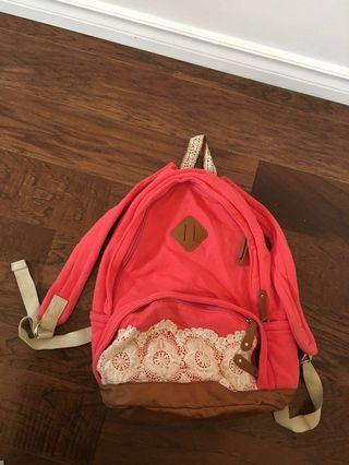 Urban outfitters pink leather crochet backpack