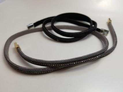 新款閃亮金鑽皮繩項鍊手镯磁扣