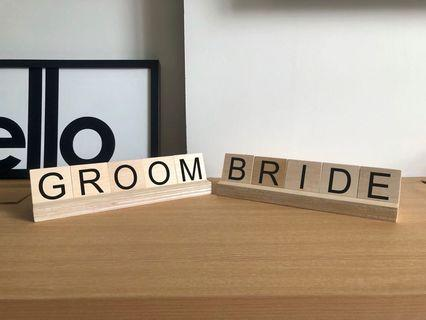 Bride and Groom scrabble wood signages