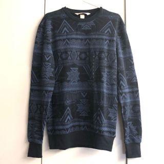 h&m x coachella navy blue pattern sweatshirt sweater