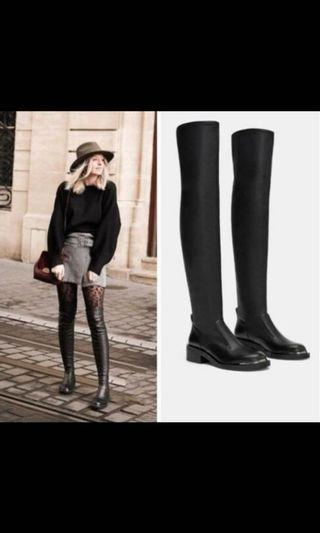 Zara Black Boots Above Knee