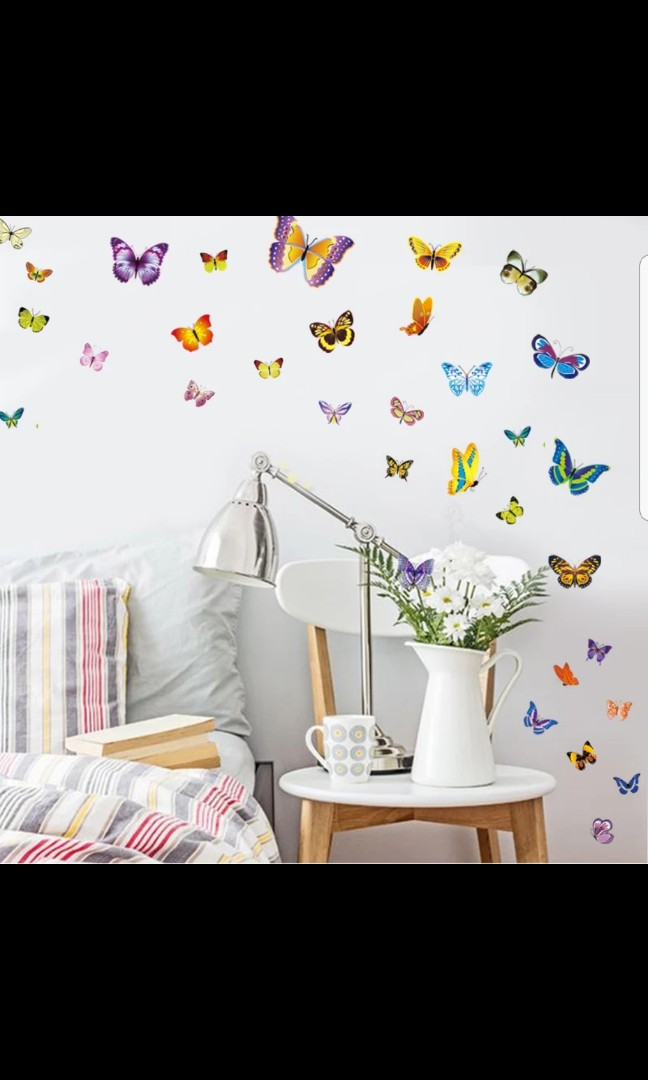 50pcs Butterfly Wall Stickers Self Adhesive Living Room Wall