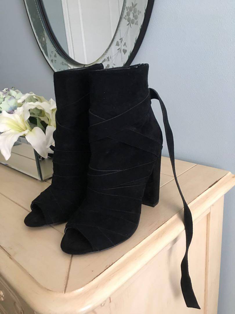 ALDO Black Peep-Toe Booties