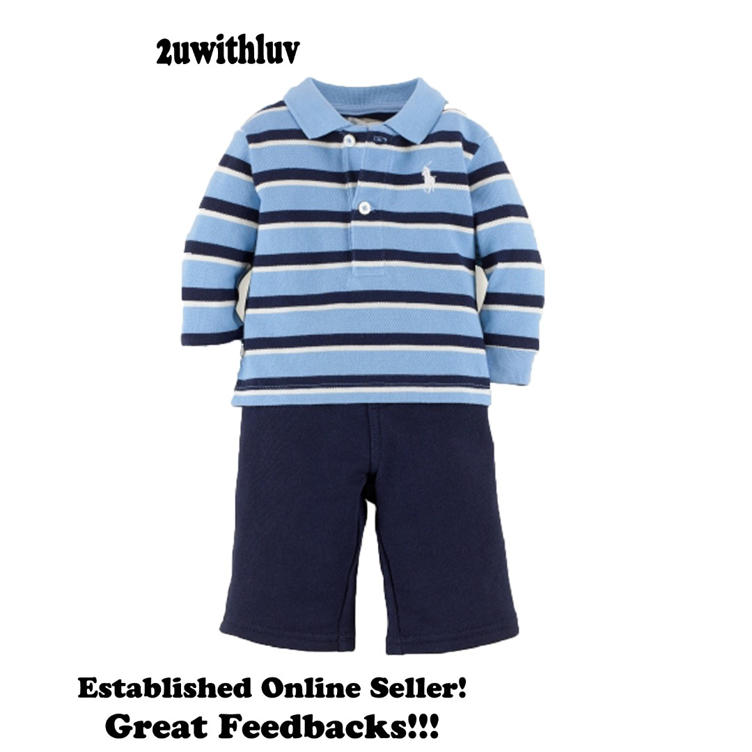 12b626d7 AUTHENTIC RALPH LAUREN BABY BOY BLUE COTTON MESH POLO SHIRT AND PANTS SIZE  9M, Babies & Kids, Babies Apparel on Carousell