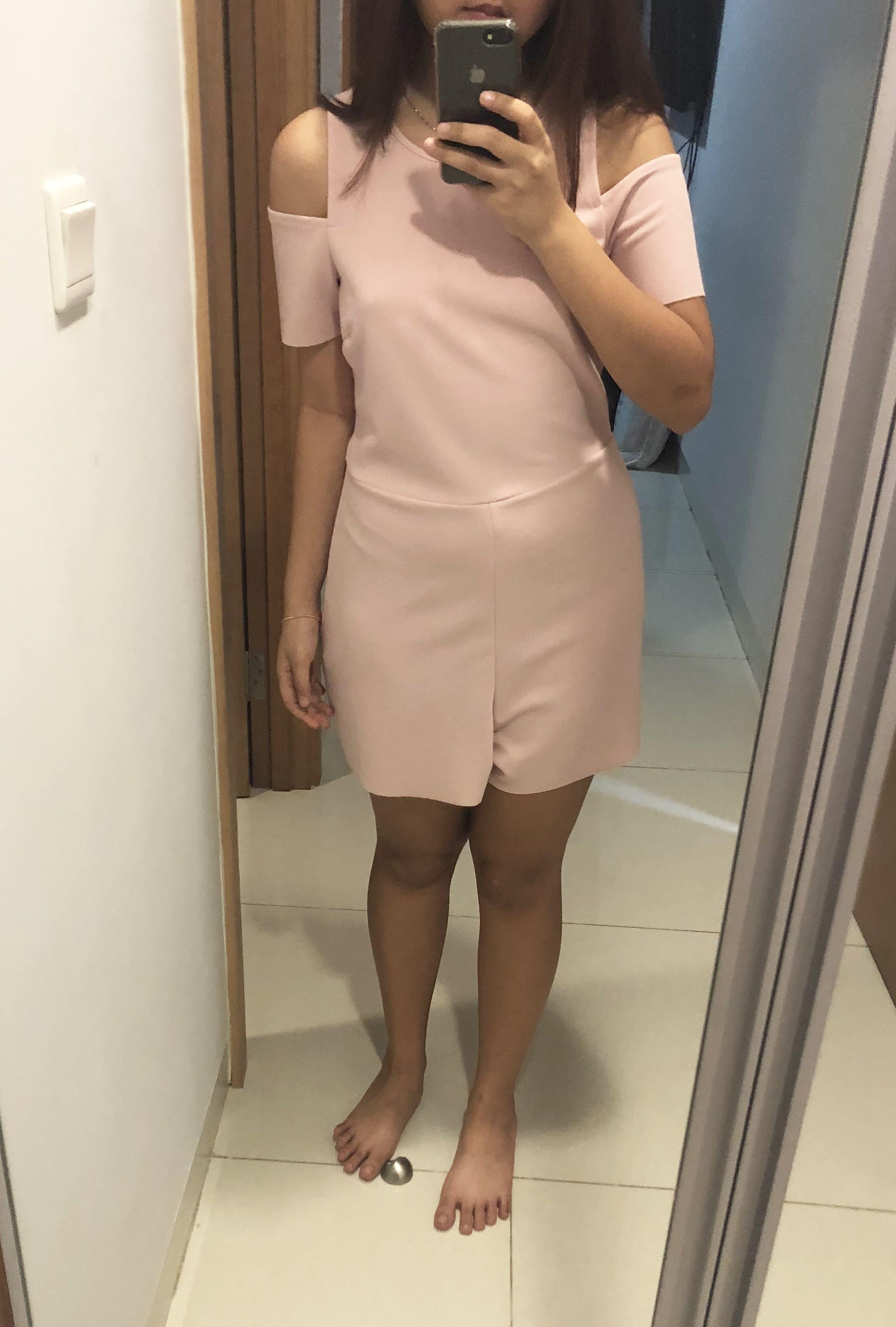 Baby Pink Zara Jumpsuit Off Shoulder