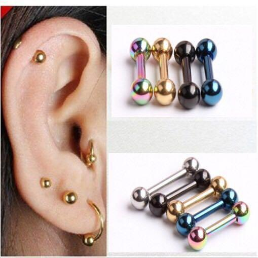Black Ear Stud Helix Cartilage Piercing Stainless Steel 4mm earring