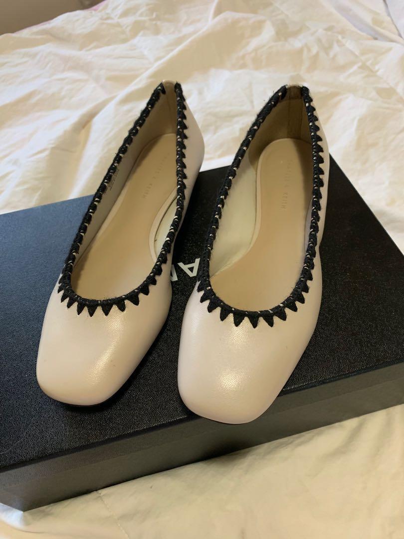 Charles & Keith Chalk Whipstitch Trim Ballerinas - AU Size 4 (fits a Size 6)