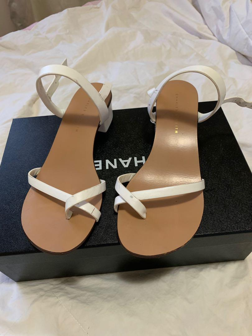 Charles & Keith White Strappy Sandals - AU Size 4 (fits a Size 6)
