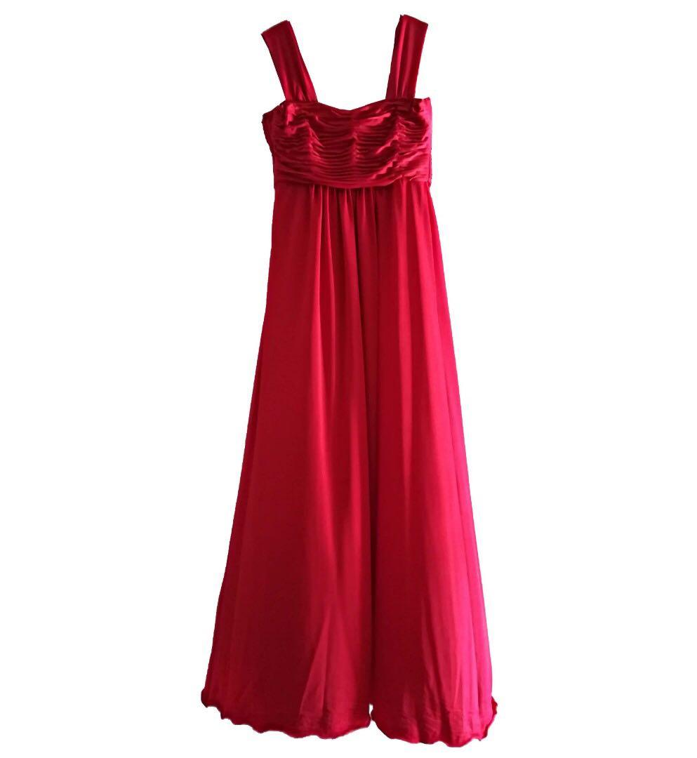 Chilli Red Evening Gown Polyester Cotton Size M