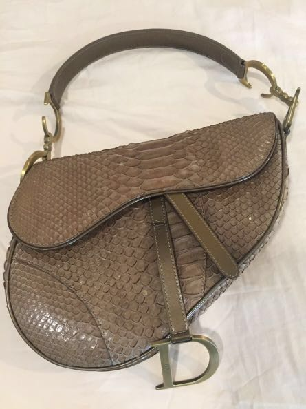 3323bf30358 Christian Dior Snake Skin Oblique Saddle Bag - vintage python skin, Luxury,  Bags & Wallets, Handbags on Carousell
