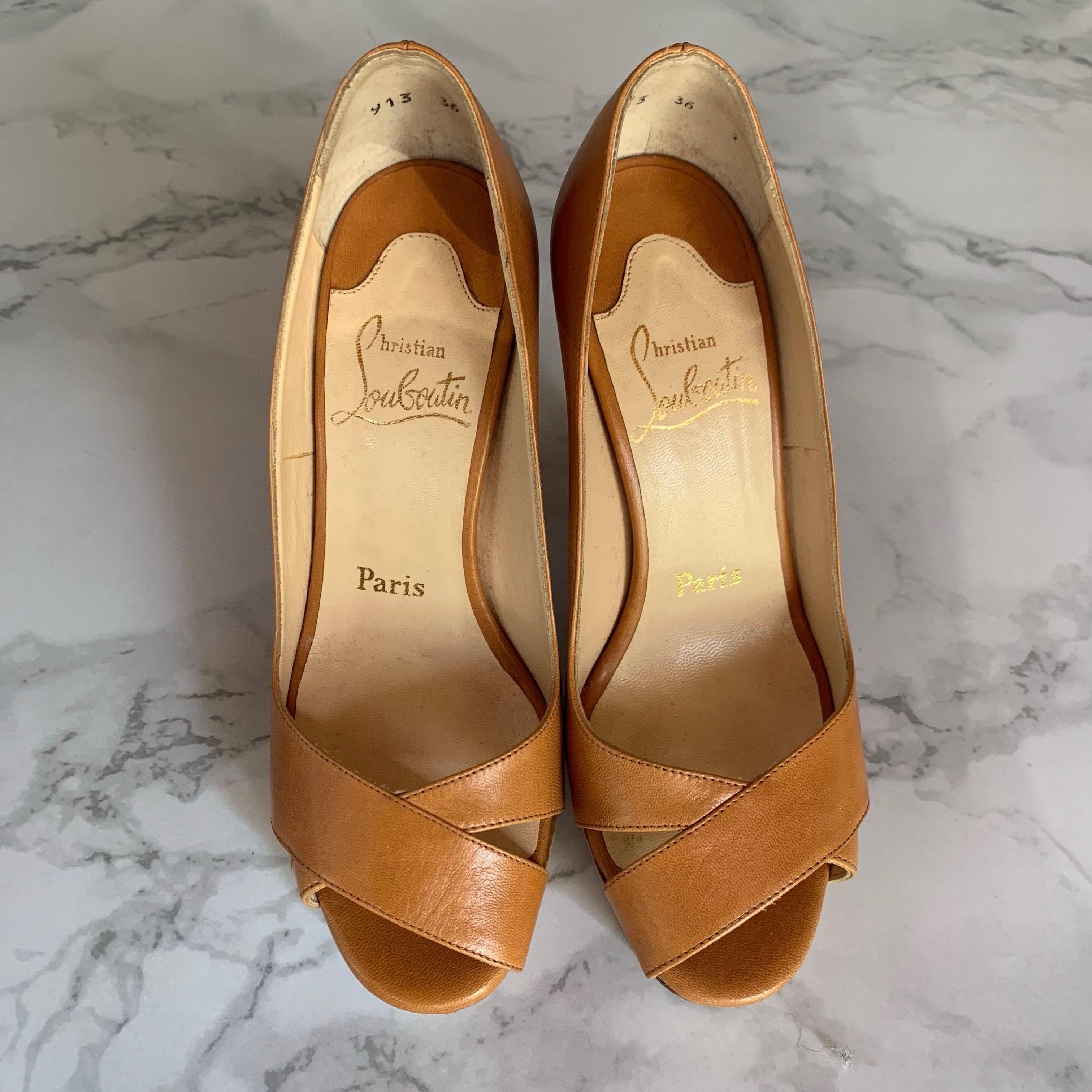 Christian Louboutin Miss Marple 120 Brown Heels size 36