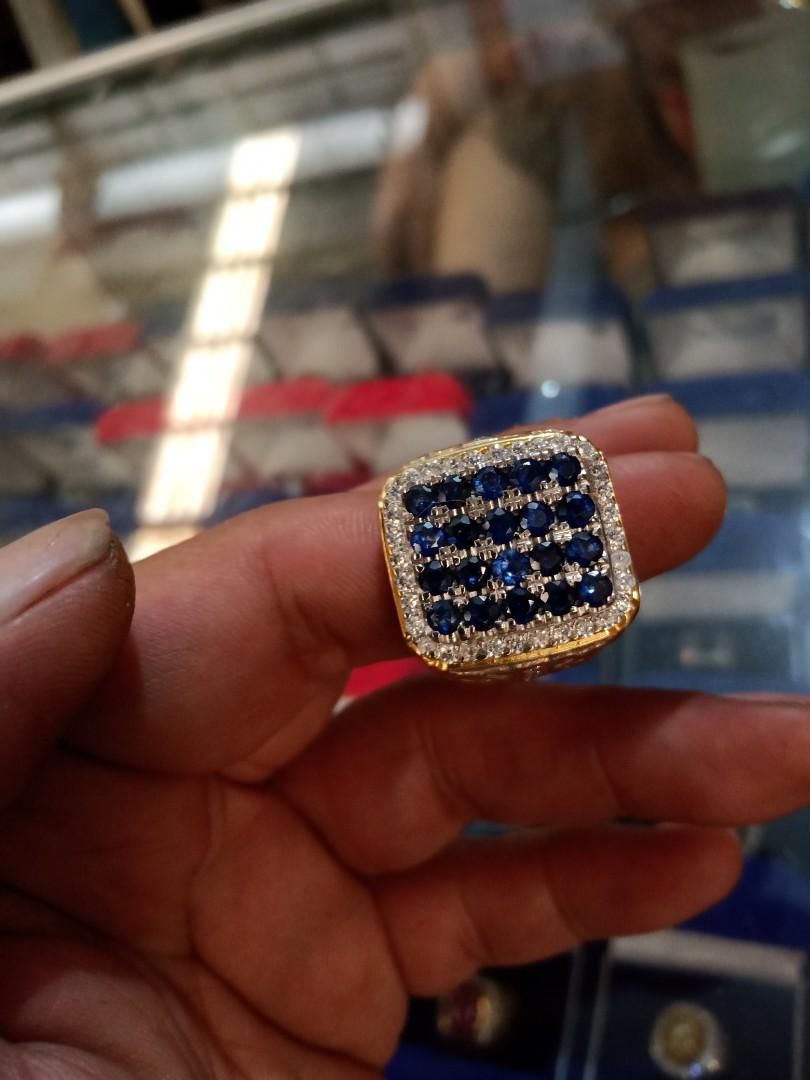 Cincin blue saphier 20pcs ori sri lanka,  Rangka Perak  , swarofsky