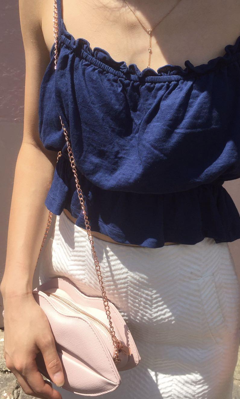 Colette by Colette Hayman pink rose lip rose gold chain bag