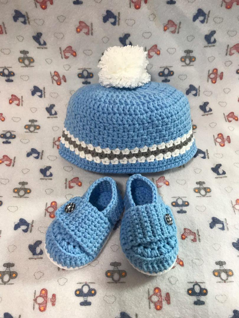 Crochet Boy Hat And Shoes Set Babies Kids Babies Apparel On