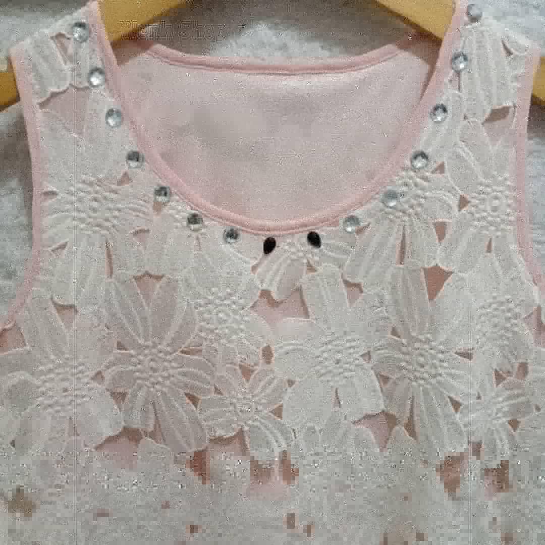 Dress peach white flower brukat