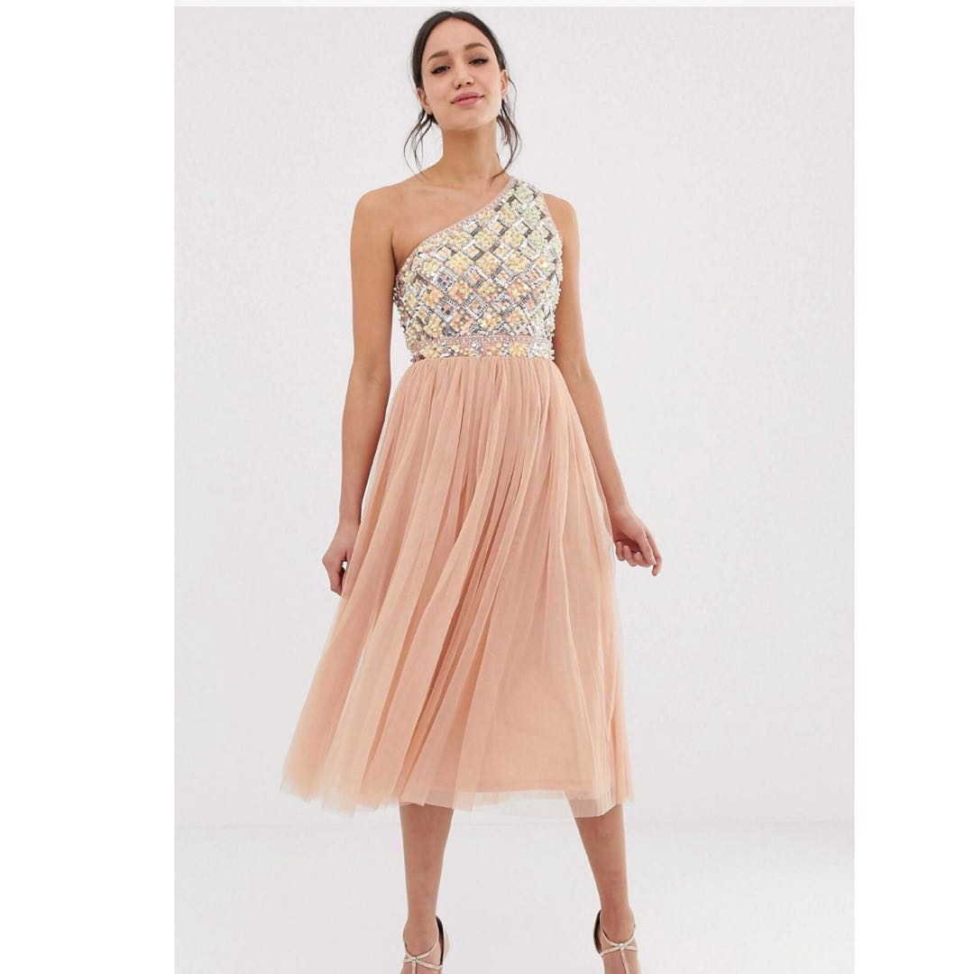 Embellished Tulle Midi Dress Gown In Blush Pink For Dinner Occasions Wedding Guest Dress Size Uk 4 Usual 140