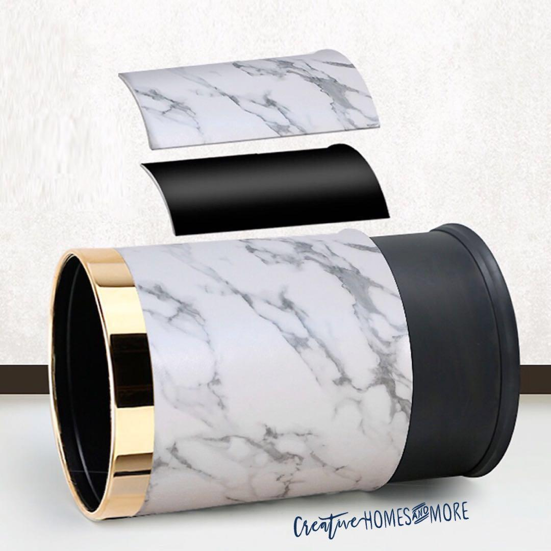 FAUX LEATHER WHITE MARBLE PRINT LUXE DOUBLE LAYER TRASH CAN