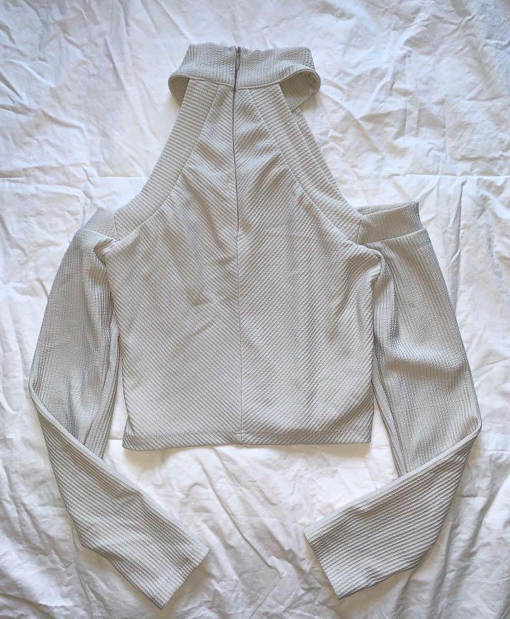 Heart on Fire Grey Cold Shoulder Halter Top - AU Size 8
